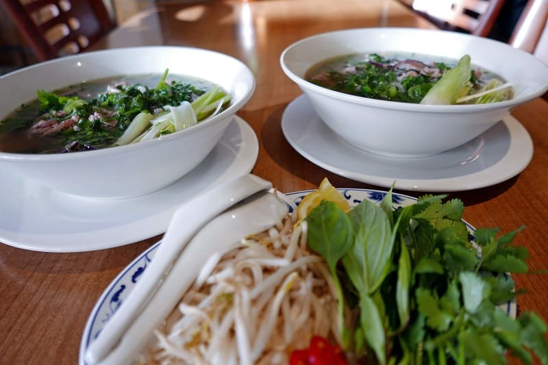 Beef Pho Noodle Soup and Toppings